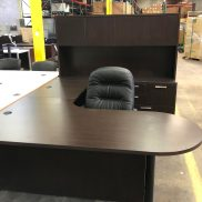 Used Espresso U-Shape Desk Set